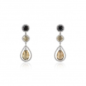 White Gold Diamond and Quartz Earrings